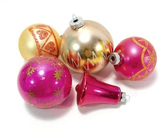 Shiny Brite & USA, Vintage Glass Christmas Tree Ornaments, Balls, Bell, Gold, Pink, Glitter, Mica, C76