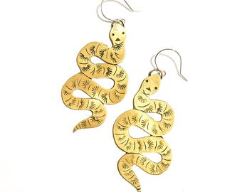 Brass Serpent Stamped Dangle Earrings, One of a Kind!