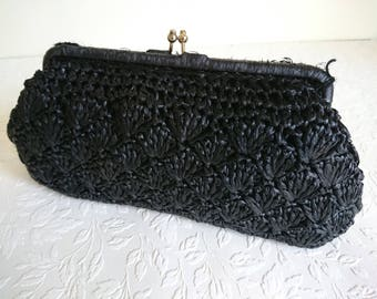 Vintage Hertford Raffia Bag, Black Handbag, Black Clutch Bag, Raffia, Straw.