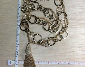 """10% OFF 3 day sale Vintage 32"""" Goldtone And Czs Necklace Used"""
