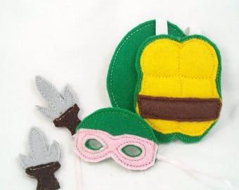 Elf Turtle Costume - Doll Costume - Turtle Shell & Mask - Ninja Weapons - Elf Doll Ninja Costume -Holiday Elf Clothing -Ninja Turtle Costume