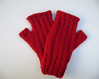 Red Fingerless Gloves/ Mittens. Wrist warmers. Hand Knit Gloves.