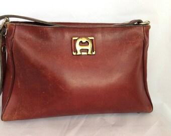 Vintage handmade Etienne Aigner leather bag 60s 70s distressed