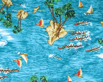 Hawaiian Fabric, Tropical Fabric, Palm Trees, Ocean, Waves,Beach,Water,Outrigger Canoes, Boats, Clouds, Island,Quilt Fabric,By the Half Yard