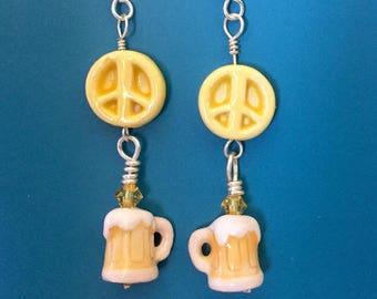 Yellow Peace Beer Swarovski Earrings