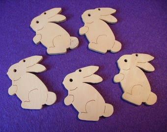 5 rabbits, wood,  5,5 x 4,5 cm (10-0004B)