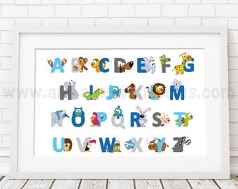 Alphabet Poster, Playroom Poster, Nursery Poster, Alphabet Nursery Art, Nursery Wall Art, Alphabet Art, Alphabet Wall Art, Poster - 22-0034