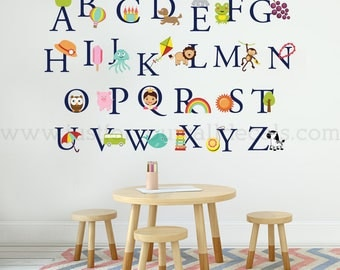 Alphabet Wall Decals, Playroom Wall Decal, Nursery Wall Decal, Alphabet Decal, Alphabet Nursery Art, Nursery Art, Alphabet Wall Art 01-0036
