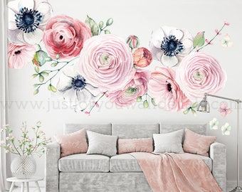 LARGE FLOWER SET   Flower Wall Decal, Floral Wall Decal, Watercolor Wall  Decals,