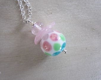 Necklace glass bead spun torch, 925 Silver chain
