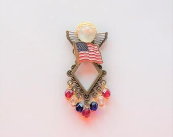 Patriotic Red, White, and Blue Angel Pin