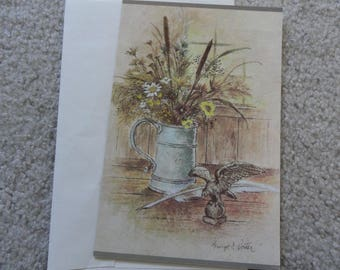 Flowers in a vase - Unused vintage blank greeting card - Free shipping