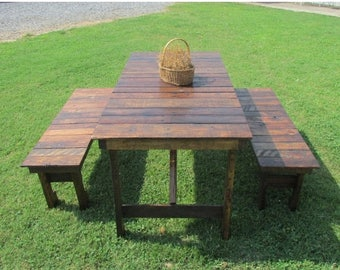 ON SALE 6' Rustic Kitchen Table & Bench Set, Reclaimed Wood Table, Kitchen Table, Restuarant Table, Picnic Table, Patio Table, Rustic Table