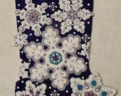 Sparkle Snowflakes Bucilla Completed 18 Inch Felt Stocking