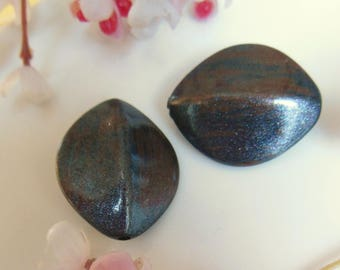 set of 3 Brown and black plastic beads