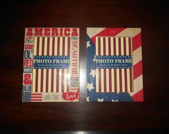 "Wooden Folk Art Style ""America"" Photo Frames, 4 x 6 inches"
