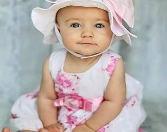 Bow-Rae-Mi Sun Hat - Baby Girl Sun Hat - Baby Floppy Hat - Sun Hat - Baby - Bow Hat - Newborn Sun Hat - Infant Sun Hat - Newborn - Bow