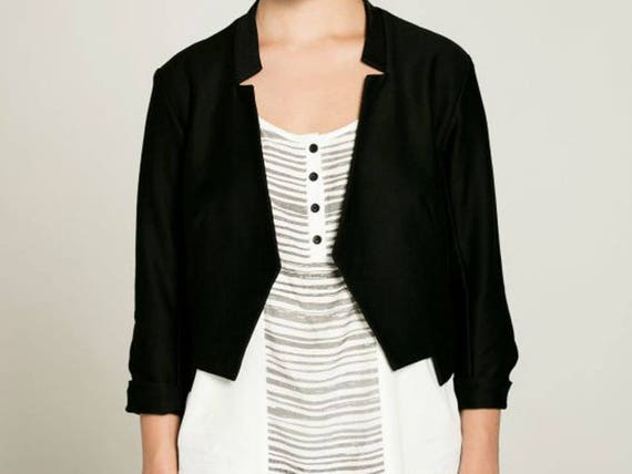 DIVE - three-quarter sleeve jacket, chic blazer, vest, cover-up for womens - black