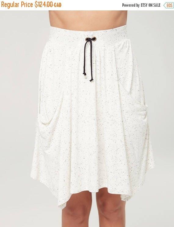 SOLDE TOURNESOL - short skater skort, skirt/short, flared skirt for women - textured white