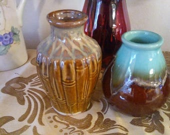 Two Handmade Pottery Vases Natural Earth Tones Brown and Turquoise
