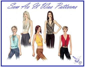 2000s Vogue Basic Design 2563 Halter Tops Halterneck Sleeveless Drawstring Crop Bands Sizes 8 10 12 Bust 31 32 34 80 84 87cm