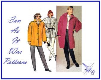 1980s FF UC Butterick 3480 Ellen Tracy Large Collar Coat Jacket Loose Shirt Stirrup Pants Vintage Sewing Pattern Size 12 14 16 Bust 34 36 38