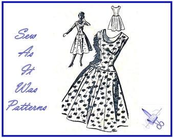 "FF Unused 1950s 1960s Juliette 858 Vintage Sewing Pattern Drop Waist Flared Dress Low Scoop Neckline Sleeveless Size 14 16 Bust 35"" 90cm"