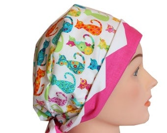 Medical Hat Surgical Scrub Cap Chemo Vet Nurse Dr Hat Front Fold Pixie Style Calico Cats   2nd Item Ships FREE