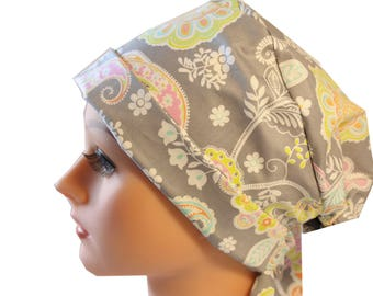 Scrub Hat Cap Chemo Vet Nurse Dr Hat Front Fold Pixie Style Tie Back Lacy Grey Floral   2nd Item Ships FREE