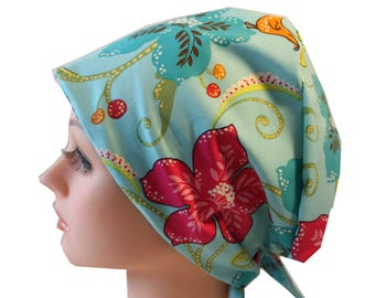 Scrub Hat Cap Chemo Vet Nurse Dr Hat European Pixie  Tie Back Style Ceil Pink Blue Floral 2nd Item Ships FREE