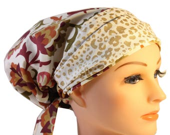 Scrub Hat Cap Chemo Bad Hair Day Hat  European BOHO Banded Pixie Tie Back Rust Olive Floral Glitter Gold Band  2nd Item Ships FREE