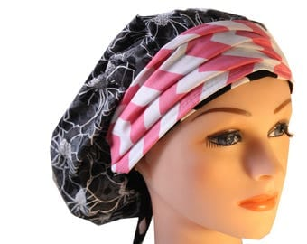 Scrub Cap Surgical Medical Chef Doctor Nurse Hat Banded Bouffant Tie Back Classic Grey Black Stencil Floral Pink Chevron