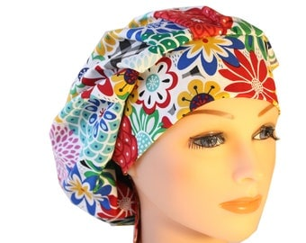 Scrub Cap Surgical Hat Chef  Dentist Hat Tie Back Bouffant Happy Primary Floral  2nd Item Ships FREE