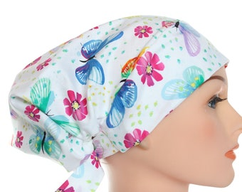 Scrub Hat Cap Chemo Bad Hair Day Hat  European BOHO Pixie Bright Butterflies  2nd Item Ships FREE