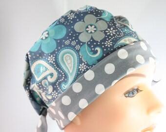 Scrub Hat Surgical Scrub Cap Chef Nurse Dr Chemo Hat Flirty Front Fold Pixie Slate Blue Grey Paisley P010 2nd Item Ships FREE