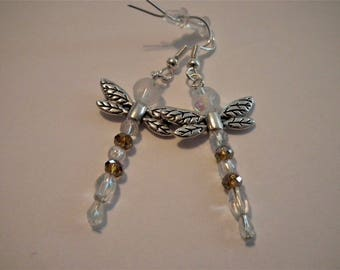 Amber Crystal Dragonfly Earrings