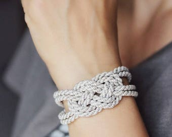 Gray Bracelet Cord Knot Bracelet Rope Bracelet Gray Knot Bracelet Nautical Sailor Knot Bracelet Rope Jewelry Knot Jewelry Everyday Bracelet