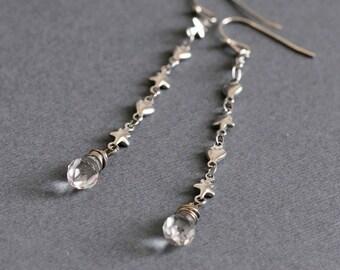 Dangle Drop and Chain Earrings Delicate Earrings Extra Long Earrings Silver Heart Earrings Star Earrings Minimalist Earring Chain Earrings