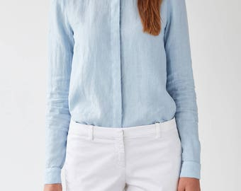 Light Blue Heather Linen Shirt