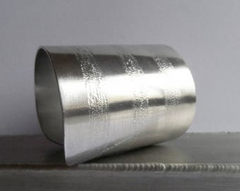 silver engraved long cuff