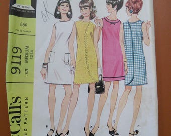 McCalls 9119 Summer Wrap Dress Play Beach Coverup Vintage Sewing Pattern 1960s 60s Size Medium 12-14