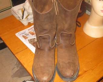 Mens VTG Redwing biker / Engineer/ Western / Workboot 11 in  boots brown leather Excelllent condition 10.5 EE 11 in boots