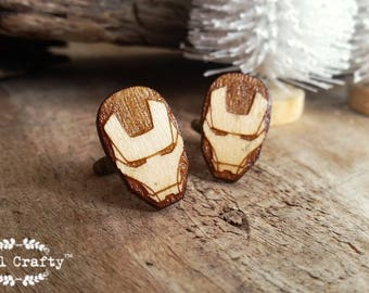 Iron Man Wooden Cufflinks Ironman Real Steel Super Hero Dad Grooms Best man Groomsman Rustic Wedding Birthday Gift Cuff links