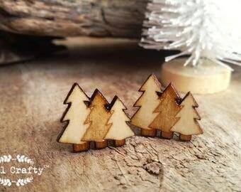 Pine Trees Wooden Cufflinks Christmas Camping Forest Hiking Adventure Dad Grooms Best man Groomsman Rustic Wedding Birthday Gift Cuff links
