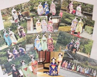12 Japanese maiko postcards kimono obi from Miyagawacho kyo odori