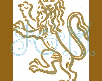 Hollywood Regency Chinoiserie Lion Machine Embroidery Design Motif 4x4 5x7