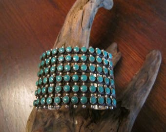 1960 Cuff Sterling with 6 Rows of Turquoise