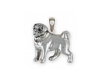 Pug Jewelry Sterling Silver Pug Pendant Handmade Dog Jewelry PG44-P