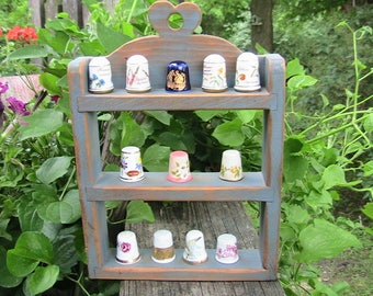 Thimbles, Vintage Thimble Assortment with Wooden Display Stand, Set of 12