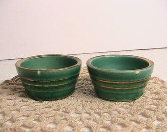 Mini Green Crock Bowls, Pair Mini Crocks
